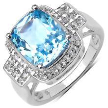 4.48 Carat Genuine Blue Topaz & White Topaz .925 Streling Silver Ring #78121v3