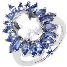 5.88 Carat Genuine Crystal Quartz & Tanzanite .925 Sterling Silver Ring #78094v3