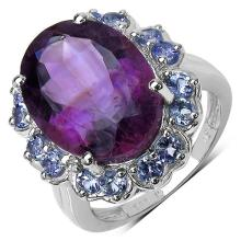 9.40 ct. t.w. Amethyst and Tanzanite Ring in Sterling Silver #77370v3