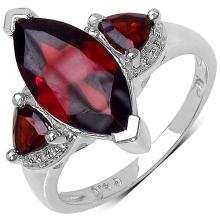 3.60 Carat Genuine Garnet Sterling Silver Ring #76944v3
