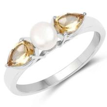 1.44 Carat Genuine Citrine and Pearl .925 Sterling Silver Ring #76893v3