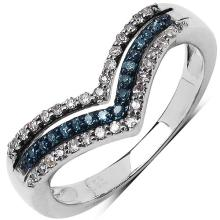 0.25 ct. t.w. Blue and White Diamond Ring in Sterling Silver #76824v3