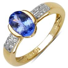 14K Yellow Gold Plated 1.33 Carat Genuine Tanzanite .925 Sterling Silver Ring #78473v3