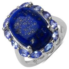 10.56 Carat Genuine Lapis & Tanzanite .925 Streling Silver Ring #78533v3