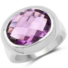 8.25 Carat Genuine Amethyst .925 Sterling Silver Ring #77086v3