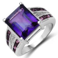 6.87 Carat Genuine Amethyst & Rhodolite .925 Sterling Silver Ring #78046v3