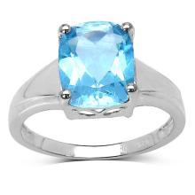 3.50 Carat Genuine Blue Topaz .925 Sterling Silver Ring #77479v3