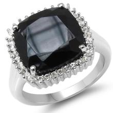 8.57 Carat Genuine Black Spinel & White Topaz .925 Sterling Silver Ring #78011v3
