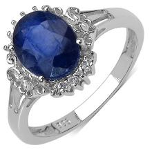 2.47 Carat Genuine Sapphire .925 Sterling Silver Ring #78528v3