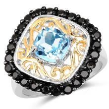 Two Tone Plated 2.85 Carat Genuine Swiss Blue Topaz & Black Spinel .925 Sterling Silver Ring #77434v3