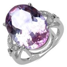 10.50 Carat Genuine Amethyst & White Topaz .925 Streling Silver Ring #78141v3