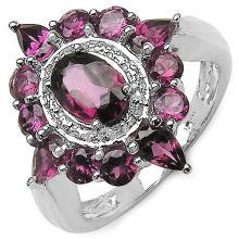 3.00 Carat Genuine Rhodolite Sterling Silver Ring #77399v3