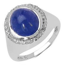 3.28 Carat Genuine Tanzanite .925 Sterling Silver Ring #78472v3