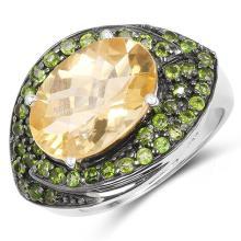 6.11 Carat Genuine Citrine & Chrome Diopside .925 Sterling Silver Ring #77878v3