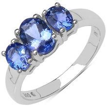 1.40 Carat Genuine Tanzanite Sterling Silver Ring #76765v3