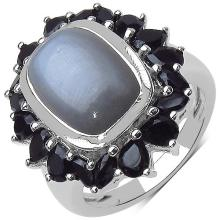 8.60 ct. t.w. Grey Moonstone and Black Spinel Ring in Sterling Silver #78072v3