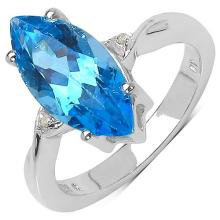 3.65 Carat Genuine Swiss Blue Topaz and 0.02 ct.t.w Genuine Diamond Accents Sterling Silver Ring #76811v3