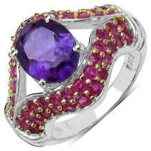 4.50 ct. t.w. Amethyst and Ruby Ring in Sterling Silver #77368v3