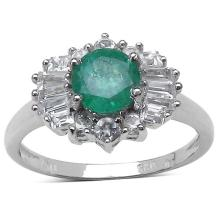 1.70 ct. t.w. Zambian Emerald and White Topaz Ring in Sterling Silver #77366v3