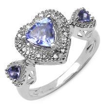 1.10 Carat Genuine Tanzanite & White Diamond .925 Sterling Silver Ring #77072v3