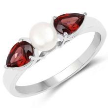 1.54 Carat Genuine Garnet and Pearl .925 Sterling Silver Ring #76894v3