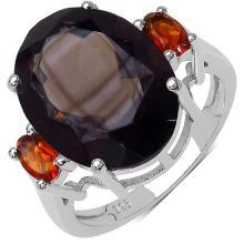 8.34 Carat Genuine Smoky Topaz & Citrine .925 Streling Silver Ring #78509v3