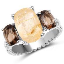 5.75 Carat Genuine Golden Rutile & Smoky Quartz .925 Sterling Silver Ring #77091v3