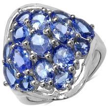 4.40 Carat Genuine Tanzanite Sterling Silver Ring #78109v3