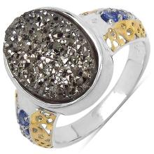 4.46 Carat Brown Drusy Ring with 0.24 ct. t.w. Multi-Gems in Sterling Silver #77925v3