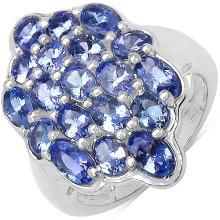 3.50 Carat Genuine Tanzanite Sterling Silver Ring #78111v3