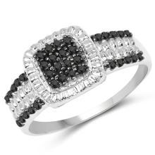 0.32 Carat Genuine Black Diamond .925 Sterling Silver Ring #77934v3