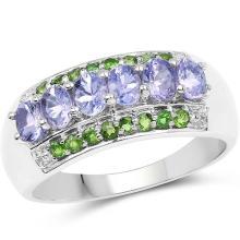 1.34 Carat Genuine Tanzanite & Chrome Diopside .925 Sterling Silver Ring #77381v3