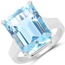 15.53 Carat Genuine Blue Topaz .925 Sterling Silver Ring #77119v3