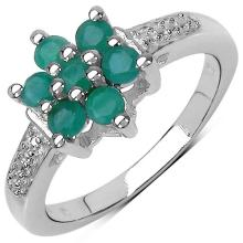 0.60 Carat Genuine Emerald Sterling Silver Ring #76766v3