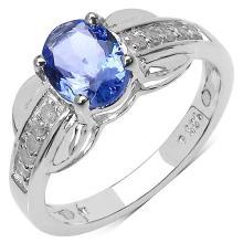 1.19 Carat Genuine Tanzanite and 0.11 ct.t.w Genuine Diamond Accents Sterling Silver Ring #77126v3
