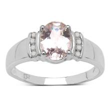 1.11 Carat Genuine Morganite and 0.09 ct.t.w Genuine Diamond Accents Sterling Silver Ring #77459v3