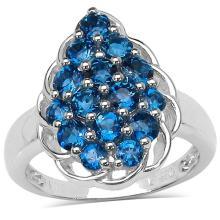 1.60 Carat Genuine London Blue Topaz Sterling Silver Ring #77378v3