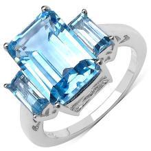4.84 Carat Genuine Blue Topaz Sterling Silver Ring #77098v3