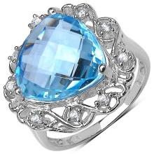 11.00 ct. t.w. Blue Topaz and White Zircon Ring in Sterling Silver #76960v3
