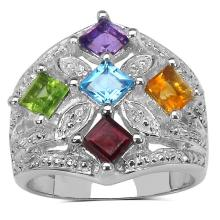 0.40 Carat Amethyst Ring with 1.90 ct. t.w. Multi-Gems in Sterling Silver #77345v3