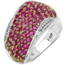2.50 Carat Genuine Ruby Sterling Silver Ring #77387v3