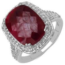 7.45 Carat Genuine Ruby .925 Sterling Silver Ring #78420v3