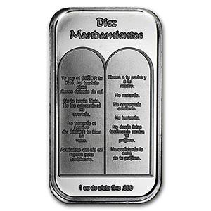 1 Oz Silver Bar Ten Commandments Spanish 74833v3