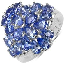 3.80 Carat Genuine Tanzanite Sterling Silver Ring #76812v3