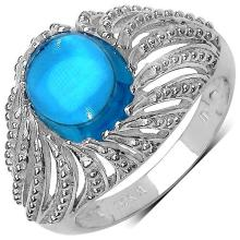 3.65 Carat Genuine Swiss Blue Topaz Sterling Silver Ring #76800v3