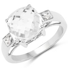 3.45 Carat Genuine Crystal Quartz & White Topaz .925 Sterling Silver Ring #76826v3