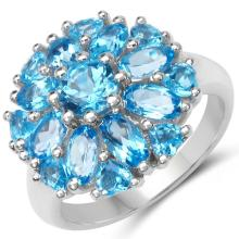 4.84 Carat Genuine Blue Topaz .925 Sterling Silver Ring #78028v3