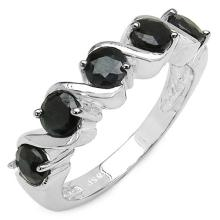 1.65 Carat Genuine Black Sapphire Sterling Silver Ring #76793v3
