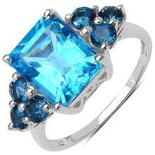 4.72 Carat Genuine Swiss Blue Topaz & London Blue Topaz .925 Sterling Silver Ring #77374v3