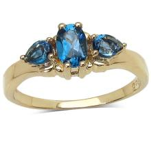 14K Yellow Gold Plated 1.05 Carat Genuine London Blue Topaz .925 Sterling Silver Ring #77420v3